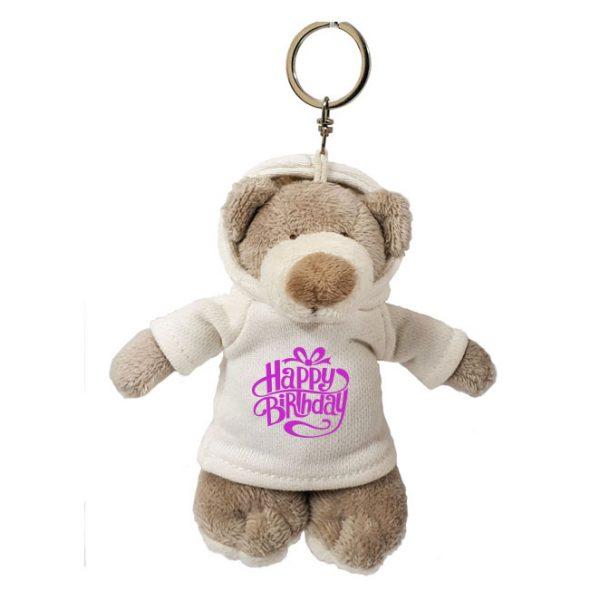 Caravaan Small, cuddly Mascot Bear (12cm) with trendy white Happy Birthday Hoodie and keyring attachment.  Ideal for Birthdays, boys, girls parties, pinyatas.