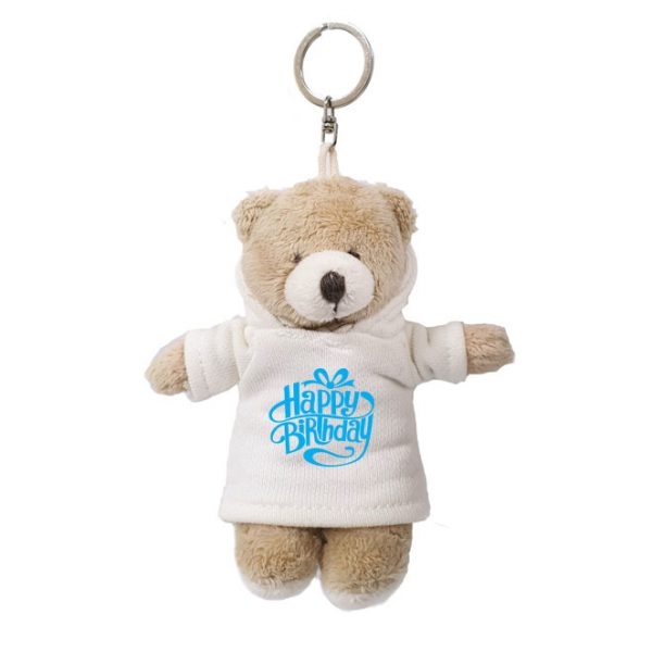 Caravaan Small, cuddly bear (12cm) with trendy white Happy Birthday Hoodie and keyring attachment.  Ideal for Birthdays, boys, girls parties, pinyatas.